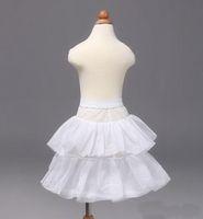 Wholesale Brides Underskirt - Girls' Petticoa Children Petticoats Wedding Bride Bridesmaid Accessories Crinoline White 1-Hoop 2-Layer Flower Girl Dress Kid Underskirt