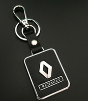 Wholesale renault leather - 1pcs Renault Car Keychain Leather Keyrings Key Hold Emblems Auto Parts accessories for RENAULT Fashion Men Women Key chain