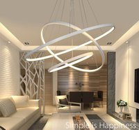 Wholesale Modern Acrylic Ceiling Lamp - Modern Circular Ring Pendant Lights 3 2 1 Circle Rings Acrylic Aluminum body LED Lighting Ceiling Lamp Fixtures