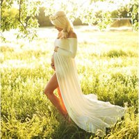Wholesale Clothing Wholesalers Maternity - Hot Sale Free Size White Maternity Lace Dress Gauze Photography Props Pregnant Women Long Dress Elegant Pregnancy Clothes Purple Red Pink
