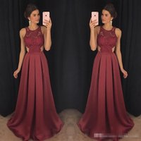 Wholesale Dress For Party Reception - High Quality Burgundy Chiffon Formal Evening Dresses For Reception 2017 Open Back Lace Appliques Floor Long Prom Party Gowns Cheap