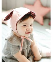 Wholesale Newborn Cap Cotton Ears - 2016 Autumn Winter New Newborn Cute Ball Caps Ears Floral Boy Girl Fashion Knitted Cotton Hats 3-10 Monthes MZ2886