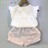 Wholesale child girl suit design - Wholesale- 2016 Summer Brand Kids Clothes Sweet Children Clothing Set Hollow Design Vest+Shorts 2pcs Baby Girls Suits infant Outfit BC1432