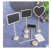 Wholesale Mini Message Chalkboard - Retangle Mini Blackboard Chalkboard Wordpad Message Board Holder Clip on a stick stand wedding table decoration