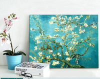 Wholesale Morden Wall Painting - 2017 Christmas Gift Canvas Painting Wall Picture Van Gogh Apricot Flowers Canvas Art Home Decor Morden Huge Pictures Canvas Only