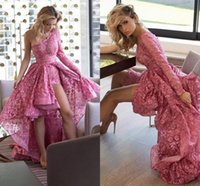 Wholesale Dresses Single Shoulder - Single Long Sleeves Lace High Low Evening Dresses One Shoulder Hot Pink Fuchsia Evening Party Dresses Sexy Prom Dresses Hi Lo Style