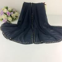 Wholesale Scarves Studs - Wholesale- Gold Stud Hijab Plain Cotton Scarf shawls muslim Long hijabs scarves scarf Women Scarfs Fashionable