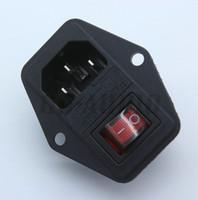 interruptor de balancim aceso venda por atacado-IEC320 C14 Receptáculo AC250V 10A Tomada de Entrada do Cabo de Alimentação AC Com ON-OFF Luz Vermelha Rocker Switch Fusível Titular RoHs CE
