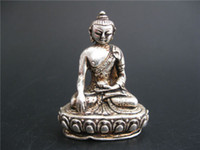 Wholesale Nr Black - TIBET DECORATED HANDWORK OLD MIAO SILVER CARVED Tibet Buddha WONDERFUL STATUE NR