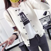2017 neue frauen pullover mode shirt patch strickjacke frauen mantel langärmelige allgleiches hoodies Rosa Schwarz Armee-grün Off-white (Freie größe)
