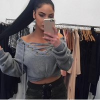 Wholesale Lace Collared Long Sleeve Blouse - Sexy wholesale price concessions listed 9a11c explosion Europe V collar long sleeved sweater Strapless Lace Blouse female backing