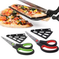 Trancheuse À Pizza En Acier Inoxydable Pas Cher-Pizza Scissors Cutter Tray Slicer Divider Acier inoxydable Pizza Shovel Scissors Pancake Cutter Spatula Pizza Baking Tools OOA1859