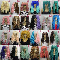 Wholesale Long Pony Tails Wigs - free shipping charming beautiful new Hot sell Best Lolita split Lori long wavy curly pony pig tail mix cosplay full hair wig