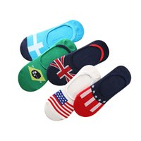 Wholesale Gel Prints - Wholesale- 5 Pairs lot Men Socks Summer Spring Invisible Boat Sock Non-slip Silica Gel Male Fashion Cotton Stripe Colorful Flag Art Sock