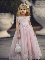 Wholesale Online Kids Dresses - Princess Pink A Line Flower Girls Dresses with Jewel Neck Lace Appliques Cheap First Communion Dresses Little Kids Formal Wear 2017 Online