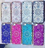 Wholesale Wholesale Phone Bling Accessories - For iphone 6 6s 6plus 6s 7 7plus Case Cover Luxury 3D Bling Diamond Sunflower Plating TPU Silicone Back Fundas Phone Accessories
