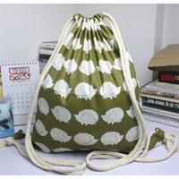 Wholesale Hedgehog Bags Backpack - Wholesale- YWA09 Simple Fabric Bag Linen Drawstring Travelling Backpack Student Book Bag Printed Hedgehog