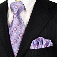 Wholesale Men Handkerchief Silk Check - Neckties Set Checked Floral Purple Lavender Lilac Blue Mens Ties Handkerchief 100% Silk Jacquard Woven Free Shipping Brand New Wholesale