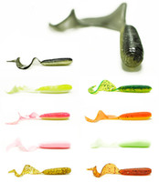 Wholesale Bass Rigs - Fishing Soft Lure Bait Grub Curly Single Tail Worm 2.4 Inches Texas Rig Catch Mandarin Fish Bass Artifiical Lures Lot 20 Pieces