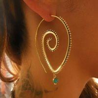 Wholesale Ear Cuff Earrings Gems - Rotating Drop Womens Earrings Big Large Ear Cuff Online Gold & Silver Studs For Female Best Gem Pattern DC54