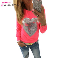 Wholesale Short Color Neon - Wholesale-Jahurto Love Heart Sequins T-shirt Neon Color Round Neck Long Sleeve Slim Casual Cute Women Shirt Pullover Female Clothes