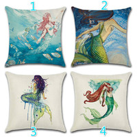 Wholesale 16 Styles Little Mermaid Pattern Square X18inch Sofa Decorative Throw Pillow Case Home Cotton Line Cushion cojines Covers