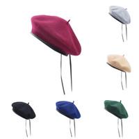 gorras de calavera vintage al por mayor-Unisex Classic 100% lana boina sombrero Vintage ejército militar Sweatband cuero elegante Beanie Skull Cap T278