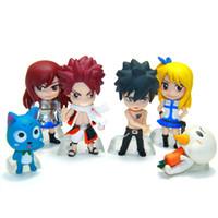 anime peri figürü toptan satış-6 adettakım Anime Fairy Tail Natsu Mutlu Lucy Gray Erza Plue Doll Action Figure Heykelcik Set Set Oyuncak Kek Topper Çocukla ...