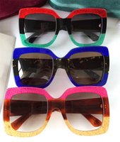 Wholesale Hot Woman New - new fashion women sunglasses 0083 3colors frame shiny crystal design square big frame hot lady design UV400 lens with original case