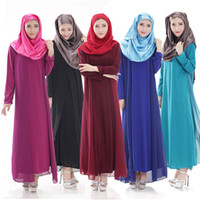 Wholesale Muslim Abaya For Sale - Muslim Robe For Women Long Sleeve Maxi Dress Plus Size Ethnic Clothing Abaya Sunday Clothes Hot Sale Chiffon Long Vestidos