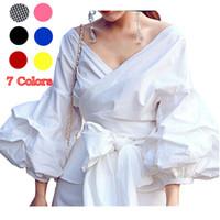 2382bac114 Mujeres V cuello elegante Peplum Tops blusa con fajas raya arco iris blanco  Nueva llegada 2018 camisas de moda Blusa tallas grandes ropa de mujer