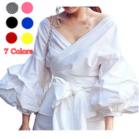 Wholesale Women S Tie - Women White Ruffles Blouse Shirts Fashion Puff Sleeve V Neck Ladies Elegant Tops Clothing Tops Female Clothes Blouses Shirt with Bow Tie