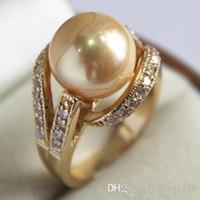 anel de ouro amarelo jade venda por atacado-Jade cristal anel de pérola frete grátis Branco Banhado A Ouro de Cristal 12mm Dourado Amarelo Shell Pérola anel Tamanho: 7 8 9