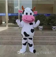 Wholesale Cow Cartoon Costume - Hot sale!! PROFESSIONAL FARM DAIRY COW Mascot Costume cartoon Fancy Dress Free Shipping