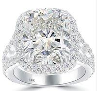 Wholesale Halo Cushion Cut Diamond Rings - 9.08 H-I1 Cushion Cut Diamond Engagement Ring 14k White Gold Pave Halo
