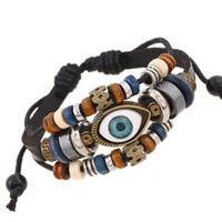 Wholesale Handmade Beaded Bracelets For Sale - Mix Color Sale Link Bracelets Fashion Infinity Multilayer Eye Pattern Handmade Beaded Leather Bracelets For Men Jewelry