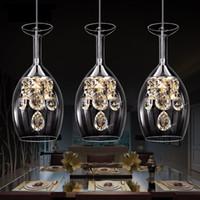 Wholesale pendant lights contemporary - LED Crystal Pendant Lamp Three Head Light AC110V-240V Dining Room Modern Brief Contemporary Restaurant Pendant Light