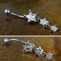 Wholesale Clear Body Jewelry - D0614 clear color belly ring nice stars style belly ring with piercing body jewlery navel belly ring body jewelry