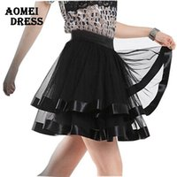 Donne Nero Tutu gonna in tulle balletto pettiskirt Klit danza del ventre Minigonna pattinatore Saia Faldas Summer Girl Fitness Grunge Gonne