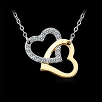 Romantique Silver Gold Color Double Heart Lovers Collier pendentif à mariage AAA Cubic Zircon Crystal Pavé pour femme Collier strass Jewelry
