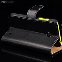 Wholesale Wallet Wholesalers Site - Wholesale-Genuine Leather Wallet Cover Case For Nokia Lumia 630 Phone Back Shell with Stand Flip Book Style with Card Holder and Bill Site