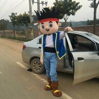 Wholesale Mascot Costumes Jake - Jake Neverland Pirate Mascot Costume Cartoon Fancy Dress Adult Size Free Ship