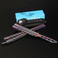 Wholesale Colorful Knife Folding - Benchmade Colorful Butterfly Knife Comb Rainbow Practice Knife Stainless Steel Training Folding Comb with Retail Package 3004023