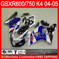 Wholesale Gsxr K4 - 8 Gifts 23 Colors Body For SUZUKI GSX-R600 GSXR750 GSXR600 04 05 gloss blue 9HM37 GSX R600 R750 K4 GSX-R750 GSXR 600 750 2004 2005 Fairing