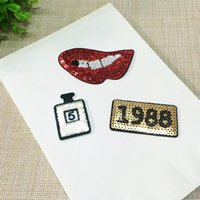 Wholesale Wholesale Sewing Notions - Lips Perfume 1988 Patches Sequin Embroidery Lace Applique Paillette Fabric Stickers Patches for Hat Decoration & Sewing Notions