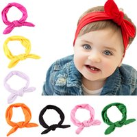 Wholesale Stretch Baby Wraps - Solid color Stretch cloth rabbit ears baby headdress Bowknot Turban Twist Head Wrap Twisted Knot Soft Hair Band Kids Headbands Bandanas