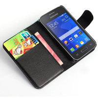 Wholesale Galaxy Young Wallet - Luxury Wallet PU Leather Flip Cover Phone Case For Samsung Galaxy Young 2 G130 G130H Cell Phone Cover With Card Holder Stand