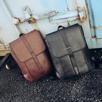 Wholesale Western Style Leather Bags - Western Style Fashion Shoulders Bag PU grain leather backpacks bags lady fashion fold Backpack school bag
