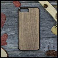 Wholesale Bumper Iphone Genuine - Natural Genuine Black Walnut Wood With Plastics Back Cover Cellphone Case for iPhone 7 6 7Plus Solid Full Wooden Protective Bumper Shell