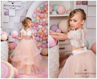 Wholesale Lace Vintage Children - 2016 Pink Two Pieces Lace Ball Gown Flower Girl Dresses Short Sleeve Vintage Child Pageant Dresses Beautiful Flower Girl Wedding Dresses